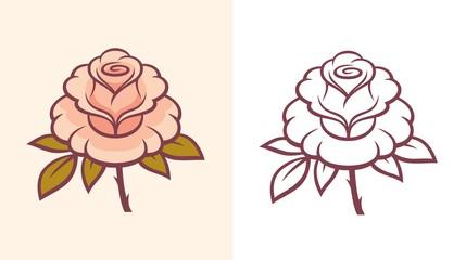 Rose flower illustration for logo or tattoo.