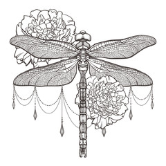 Black dragonfly Aeschna Viridls and peonies. T-shirt design. Isolated on white background. Dragonfly tattoo sketch. Coloring books. Symbol of freedom, travel. Hand-drawn vector illustration.