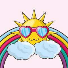 rainbow and cute sun with glasses over pink background, colorful design. vector illustration