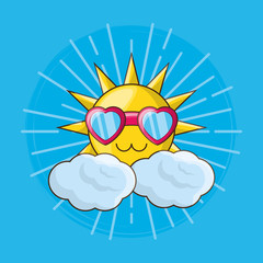 cute sun with glasses in heart shape over blue background, colorful design. vector illustration