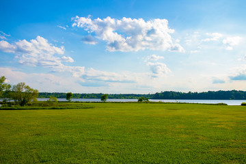 Beautiful Blue Sky and Vibrant Lake View