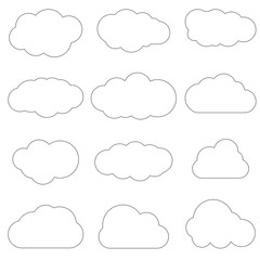 Clouds line art icon. Storage solution element, databases, networking, software image, cloud and meteorology concept. Vector illustration isolated on white background