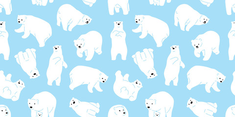 bear seamless pattern polar bear vector panda teddy background isolated repeat wallpaper