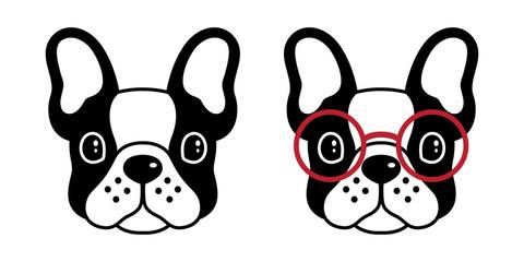 dog vector french bulldog pug icon logo glasses cartoon character illustration symbol black
