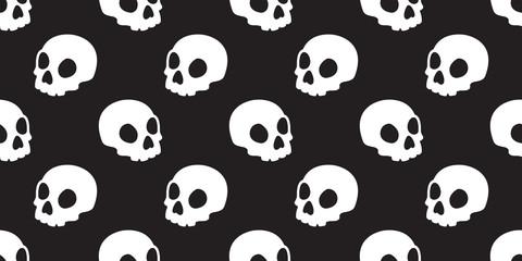 Skull seamless pattern Halloween vector bone Ghost head background isolated tile wallpaper illustration