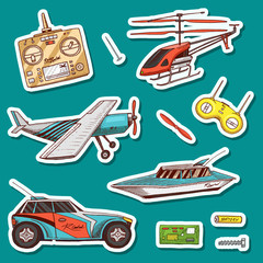 Children toys constructor. Vintage aircraft, boat, ship and car, RC transport, remote control models. Stickers for notebook. Details for service. Play Games. Engraved hand drawn Doodle sketch.