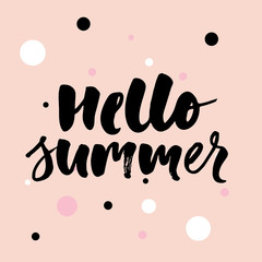 Hello summer vector text lettering calligraphy letters black