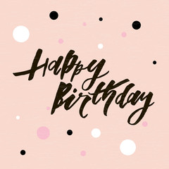 Lettering with phrase Happy Birthday. Vector illustration. color