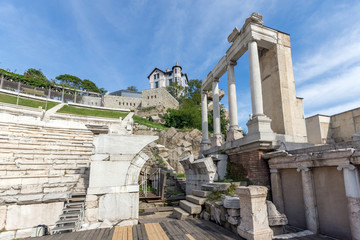 Ruins of Ancient Roman theatre in Plovdiv, Bulgaria