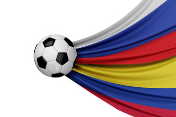 Russia and Colombia flag with a soccer ball. 3D Rendering