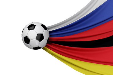 Russia and Germany flag with a soccer ball. 3D Rendering