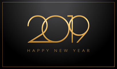2019 Happy New Year greeting card gold and black background - vector