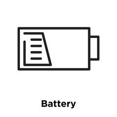 Battery icon vector sign and symbol isolated on white background, Battery logo concept