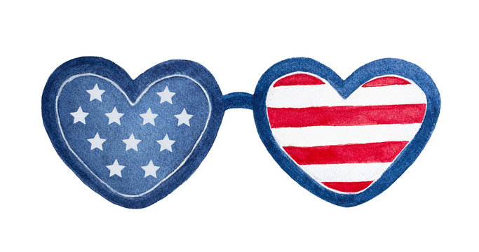 American heart shaped eye glasses illustration. One single object for design and decoration. Hand drawn watercolour sketchy drawing on white background, isolated clip art. Red, blue, white colors.