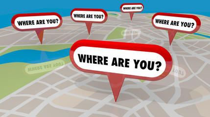 Where Are You Map Pins Locations Lost 3d Render Illustration