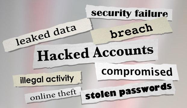 Hacked Accounts Newspaper Headlines Online Theft 3d Render Illustration