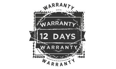 12 days warranty icon stamp