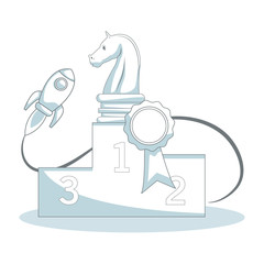 Chess trophy with spaceship vector illustration graphic design