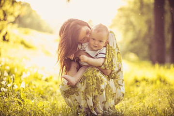 Enjoy in love between Me and my Baby boy. Young mother.
