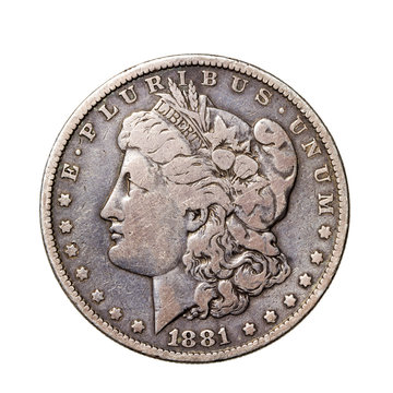 Authentic 1881 Morgan Silver Dollar - American Coin Isolated on White Background