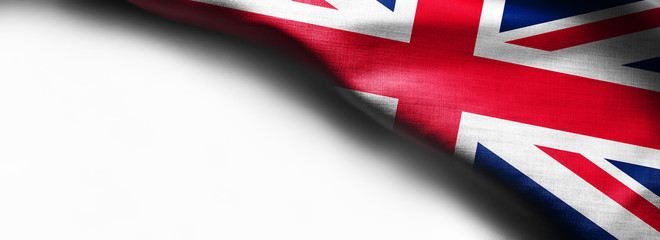 Flags of the United Kingdom on plain background. Copy space