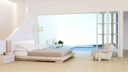 The interior minimal hotel bedroom space swimming pool 3d rendering and nature view background