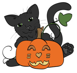 Black Cat hugging a jack-o-lantern