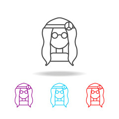 A hippie girl with glasses icon. Elements of life style in multi colored icons. Premium quality graphic design icon. Simple icon for websites, web design, mobile app, info graphics