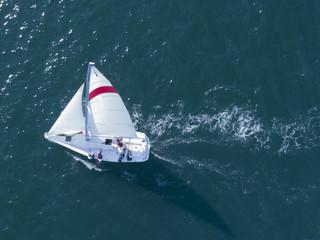 風を受け、海を進むヨット