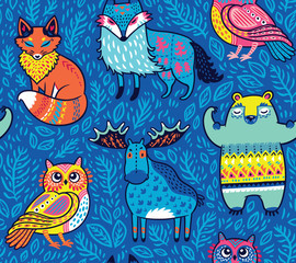 Tribal forest animals in blue. Vector illustration