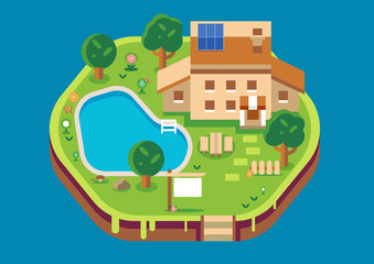 Vector home isometric flat style design, Architecture real estate, property and house