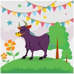 cute funny purple cow cartoon character
