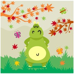 cute funny chubby green hippopotamus  cartoon character