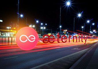 Concept of Aeternity coin  moving fast  on the road, a Cryptocurrency blockchain platform , Digital money