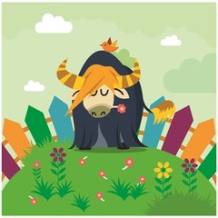 cute funny blue yak eating flower in the garden cartoon character