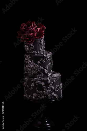 Black 3 tiered wedding cake with silver accents and gumpaste flower black 3 tiered wedding cake with silver accents and gumpaste flower mightylinksfo