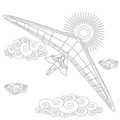 Glider. Coloring image of glider in the sky. Vector.
