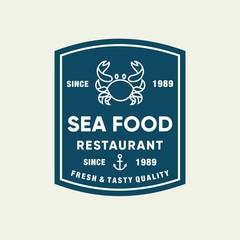 Seafood crab for restaurant line logo design. Vector icon illustration modern simple line logo