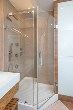 Shower in apartment in modern style. Interior, design theme.