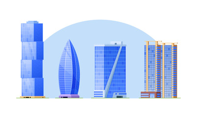 Set of city high-rise buildings, skyscrapers, popular business centers.