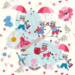 Lovely cartoon raccoons and kitty with umbrellas and flowers on a large blue butterfly. Seamless pattern for children. Cloth, wallpaper. Vector summer design.