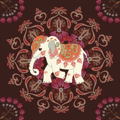 Square carpet or seamless print for fabric with cute elephant, flowers and mandala on dark brown background in indian style. Vector illustration.