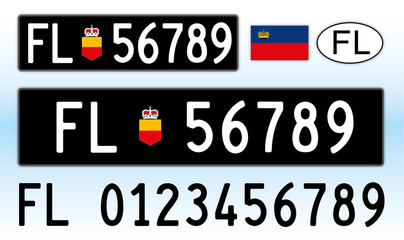 Liechtenstein car license plate, letters, numbers and symbols, Europe