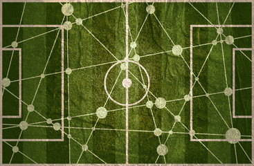 Molecule and communication background. Football field textured by connected lines with dots.
