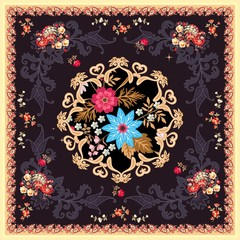 Square silk scarf in indian style with mandala, paisley, flowers and fairy birds on black background. Vector summer design. Ethnic motives. Tea box package, greeting or invitation card.
