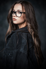 attractive girl in spectacles