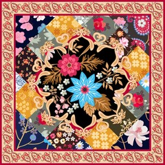Square silk scarf with stylized mandala, patchwork ornament and paisley border in vector. Ethnic oriental motives. Summer design in retro style.