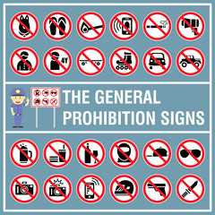 Set of signs and symbols of the prohibition signs. Signs use to indicate something is not permitted or not allowed to do. No signs.