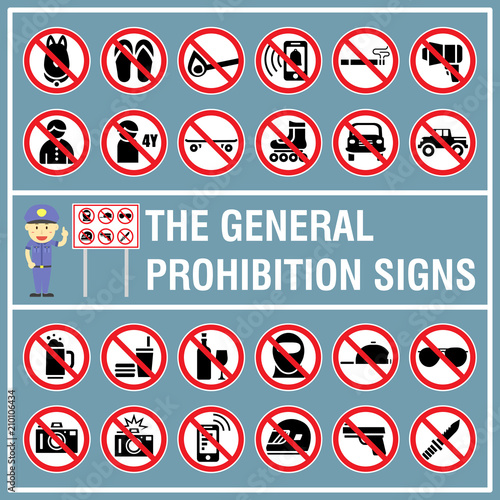 Set Of Signs And Symbols Of The Prohibition Signs Signs Use To