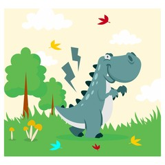 cute funny blue tyrannosaurus cartoon character